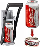 Ossian Wall Mounted 2 in 1 Can Crusher and Bottle Opener – Premium Heavy Duty 12oz 330ml Aluminium Drinking Tin Can Kitchen Recycle Tool with Soft Grip Foam Handle and Bottle Opener