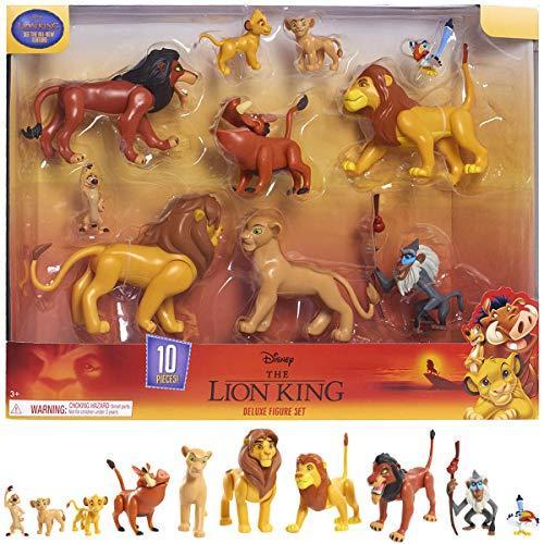 Le König der Löwen, Set mit 10 Figuren, mit Simba, Nala, Pumbaa, Timon, Rafiki, Zazu, Mufasa, Scar, Hyena, Vulture, Spielzeug für Kinder ab 3 Jahren, LNN08