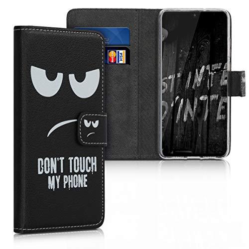 Preisvergleich Produktbild kwmobile Hülle kompatibel mit Huawei Mate 20 X - Kunstleder Wallet Case mit Kartenfächern Stand Don't Touch My Phone Weiß Schwarz