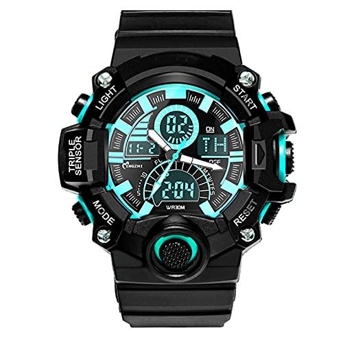 WNGJ Reloj Deportivo para Hombre, Pantalla led Impermeable Sport Sport Reloj de Deporte a Prueba de Agua Reloj Deportivo al Aire Libre para Hombres Relojes Militares Relo Cyan