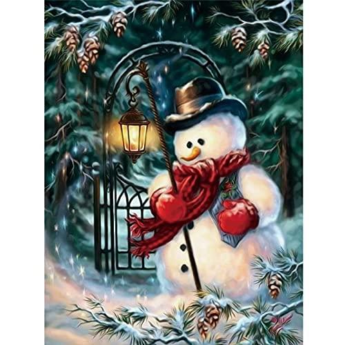 Kits de pintura de diamantes 5D DIY, bufanda roja de muñeco de nieve, no taladro completo, bordado de diamantes de imitación, punto de cruz, artesanía, decoración de la pared del hogar, regalo,