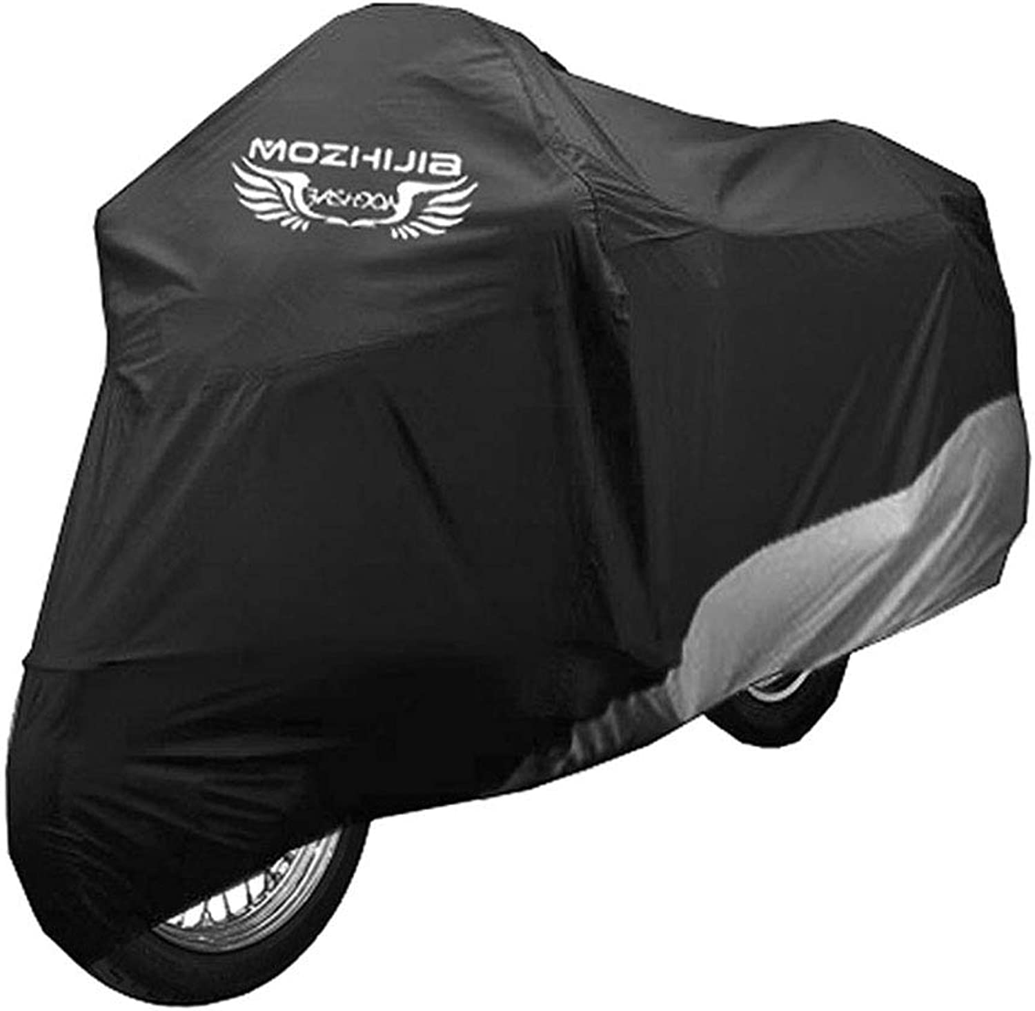 Bicycle Cover, Outdoor Motorcycle Cover, 190T Polyester PU AntiTheft Hole Windproof dustproof Cover Large Size Portable Easy to fold Black L109W43H66in