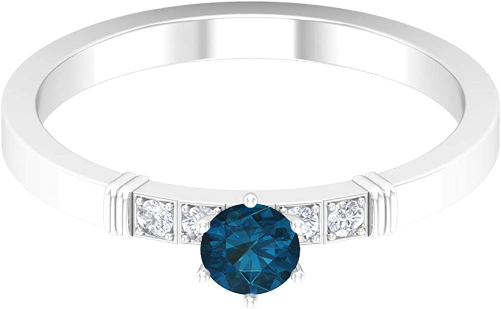 December Birthstone - 4.00 MM London Blue Topaz Solitaire Ring, HI-SI Diamond Band, Gold Wedding Band (AAA Quality), 14K Gold