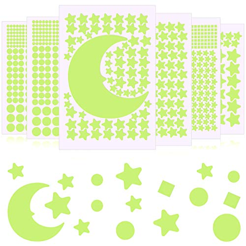 969 Pieces Glow in The Dark Stars Stickers Moon Stars and Dots Wall Stickers Starry Ceiling and Adhesive Wall Decals for Kids Bedroom Decals Party Decoration, Green