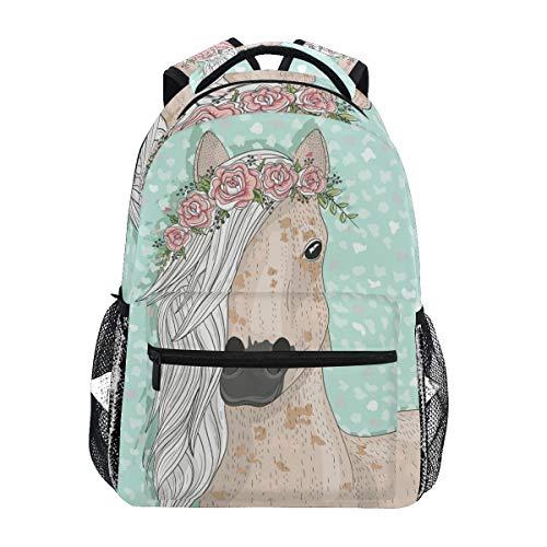Flower Horse Backpack for Girls Backpacks for Elementary School Bags Cute Bookbag for Kids 3rd 4th 5th Grade