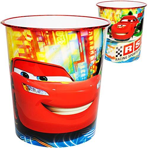 alles-meine.de GmbH Papierkorb / Behälter - Disney Cars - Auto - Lightning McQueen - 8,5 Liter - aus Kunststoff - Mülleimer Eimer / Spielzeugkorb / Popcornschüssel / auch als Blu..
