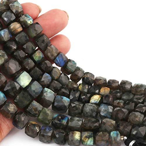 Shree_Narayani Cuentas sueltas de labradorita de calidad fina con microfacetas para caja de cubo de 8 mm para hacer joyas, manualidades, collares, pulseras, pendientes, 1 hebra