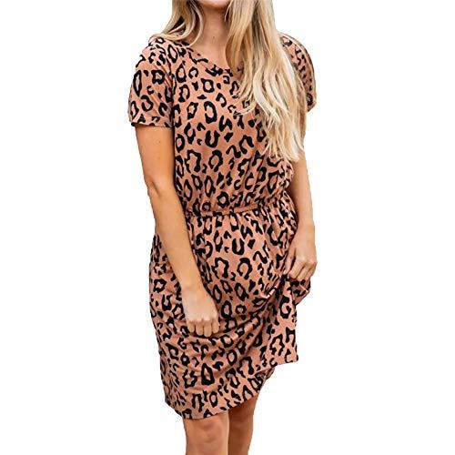 Generice - Camiseta de verano con cuello en V y manga corta con estampado de leopardo