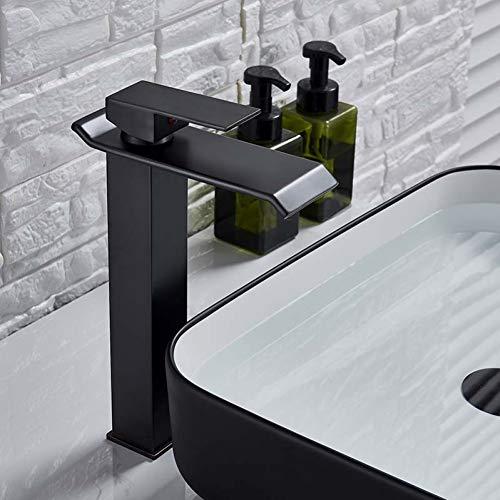 Taoziaa Vierkante chroom-waterval wastafelkraan badkamermengkraan eenhands brede uitloopcontainer wastafelkraan hete koude waterkraan
