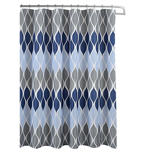 Clarisse Faux Linen Textured 70 x 72 in. Shower Curtain with 12 Metal Rings, Blue