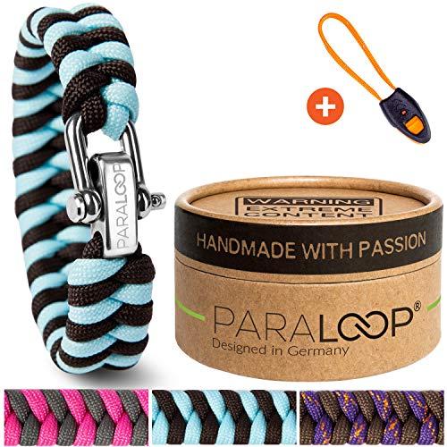 PARALOOP® ORIGINAL Paracord Armband für Frauen + Anhänger mit Signalpfeife in Handarbeit geflochten mit Geschenkbox Verschluss aus Edelstahl Armbänder Damen Türkis Braun