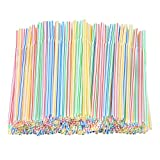 Resinta 500 Pieces Striped Disposable Plastic Straws Multi Colored Flexible Bendable Drinking Straws for Party Supplies, 8 Inch