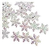 Generic QIWei 300pcs Weihnachten Kunststoff Schneeflocke Ornamente Glitzer Schneeflocke Hängen für Scrapbooking DIY Craft,2cm