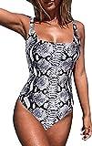 JFAN Traje de baño de una Pieza para Mujer Sexy Traje de baño con Cuello en U Profundo Estampado de Serpiente de Leopardo Moda Sexy Halter Halter Bikini de una Pieza(Serpentina,XL)
