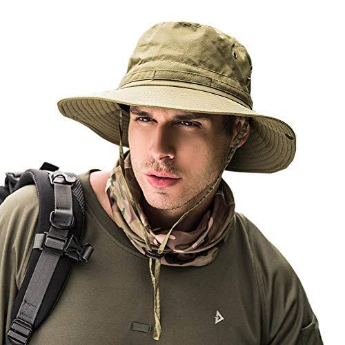 Dsaren Bucket Hat Herren Faltbar Anglerhut Breiter Rand UV Schutz Safari Hut Zum Wandern Camping Reisen Angeln (Armeegrün)