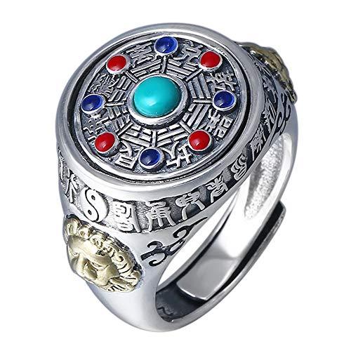 FORFOX Anello spinner bagua taoismo cinese in argento sterling 925 vintage per uomo donna regolabile taglia 18-25