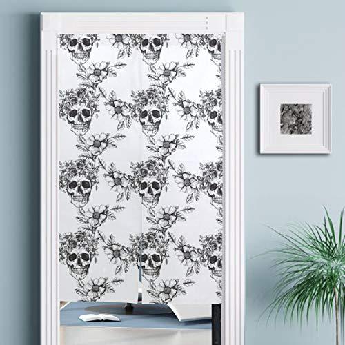 JISMUCI Vorhänge für Türen,Menschlicher Schädel mit Blumenkranz und Rosen,Türvorhang Für die Küche Wohnzimmer Schlafzimmer