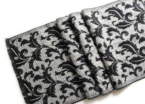 LIDA LYDI Flanell-Schal 100% Seide/Silk. Farbe grau und schwarz. 180cm x 32cm.