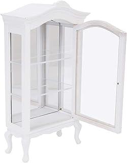 Oumij1 Casa de muñecas 1:12 Mini gabinete de Madera Blanca - Vitrina Transparente de Tres Capas con Ventana - Decoración p...