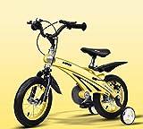 Triciclo Bebé Trolley Trike Bicicleta for niños convenientes, 3 años de hombres y mujeres bebé bebé carruaje 12/14/16 pulgadas Bicicleta Bicicleta Montaña Niño cómodo (Color: Amarillo, Tamaño: 14 pulg