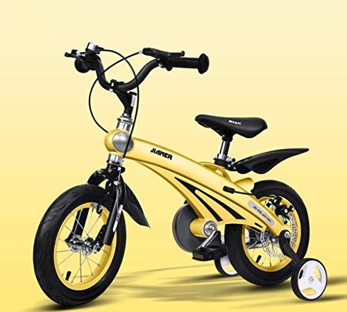 GAOTTINGSD Bicicletas para niños Conveniente bicicleta infantil, 3 años hombres y mujeres bebé carro de bebé 12/14/16 pulgadas bicicleta de montaña niño cómodo (color: amarillo, tamaño: 14 pulgadas)