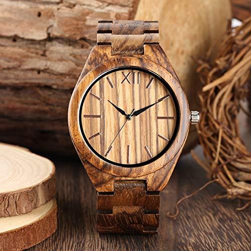 IOMLOP Reloj de madera retro rayado grano madera reloj hombres clásico línea de reloj completo caja de madera minimalista hombres mujeres banda de madera completa relojes de pulsera de cuarzo