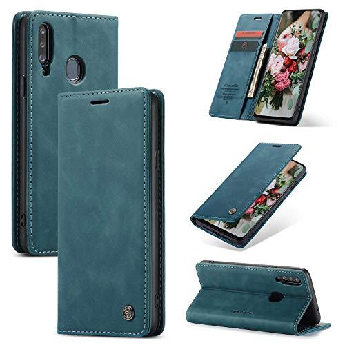 FMPC Handyhülle für Samsung Galaxy A20S Premium Lederhülle PU Flip Magnet Hülle Wallet Klapphülle Silikon Bumper Schutzhülle für Samsung Galaxy A20S Handytasche - Blaugrün