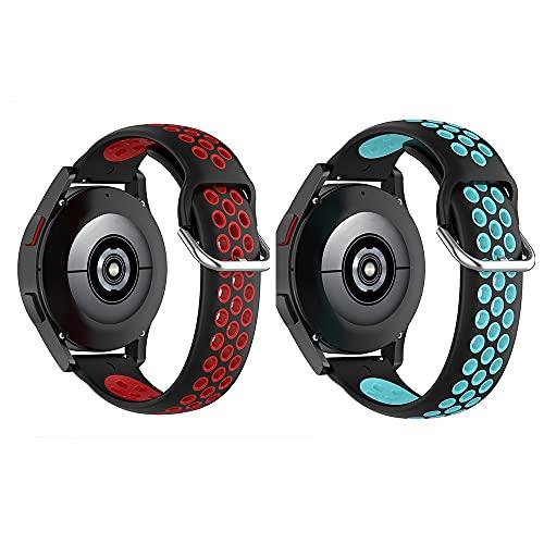 BoLuo 20mm Correa para Galaxy Watch 4 40MM,2 Pcs Correas Reloj,Bandas Correa Repuesto,Silicona Reloj Brazalete Correa Repuesto para Galaxy Watch 4 Classic 42MM/Forerunner 158/ 55 (rojo azul)