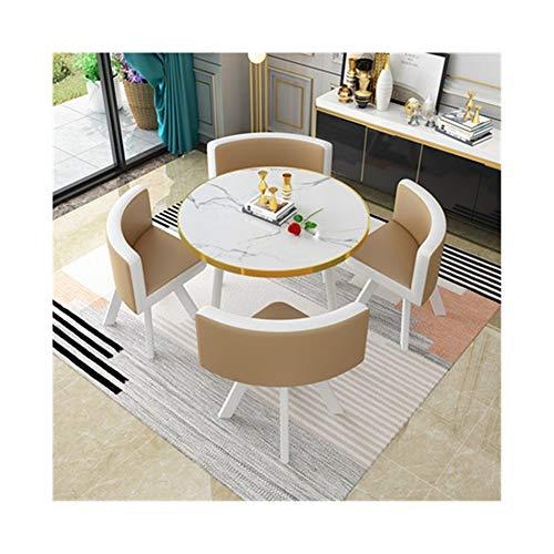 TXOZ-Q Verhandeln 5-teiliges Kaffee Sofa Sitz Moderne Vintage Zuhause-Tisch Stuhl Kombination Einfache Rezeption Freizeit Leder Büro Lounge (Color : Brown)
