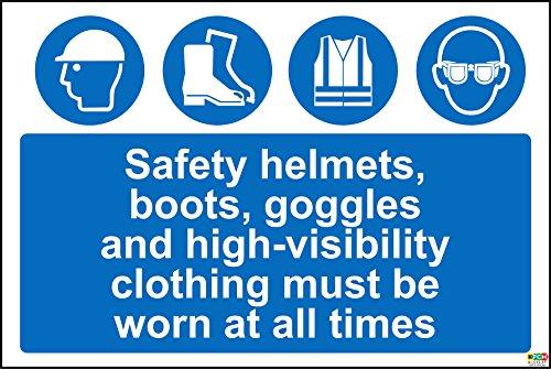 Mützen, STIEFEL, Google und öffentlichkeitswirksamer Kleidung müssen Point jederzeit Schild–1,2mm starrer Kunststoff 300mm x 200mm x 200mm