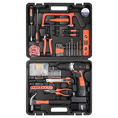 LETTON 168V Cordless Drill Lithium Ion with Tools Combo Kit for 60 Accessories Home Cordless Repair Kit Tool Set