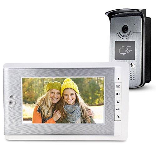 LIBO 7 Pulgadas RFID Videoportero Kit de Sistema de Intercomunicación Color LCD Monitor de Pantalla con 25 Anillos 700TVL Vision Nocturna Cámara para Apartamentos/Hogar