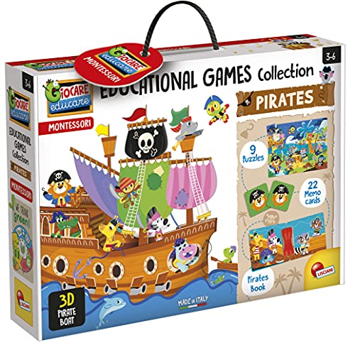 Lisciani - Montessori - Colección de juegos educativos El Barco Pirata - Juego educativo preescolar para niños a partir de 3 años (EX72743)