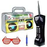 Topbuti Inflatable Radio Boombox Mobile Phone Props Shutter Shading Glasses for 80s 90s Party Decorations Rapper Hip Hop Rock toys Halloween Christmas Xmas Thanksgiving Day's Birthday Favor