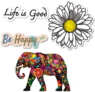 Empt Idio - Super Colorful Flower Lovely Elephant Removable Vinyl Stickers Skin for Laptop, Skateboard, Window, Car, Guitar, Luggage, Helmet (4 PCS, Small Elephant, Daisy, Life is Good, Be Happy)