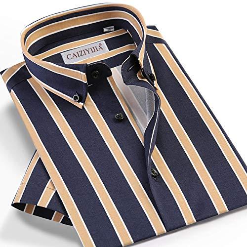 Hemd Herren-Kurzarmhemd Im Sommerstil Lässiges, Mehrfarbig Gestreiftes Hemd Taschenloses Design Standard-Passform Hemden Mit Button-Down-Kragen 42 Czlx5011