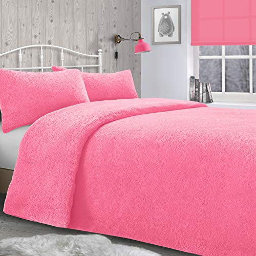 ShawsDirect Teddy Bear Bedding Fleece Duvet Quilt Cover Duvet Cover set - Single/Double/King Size/Super King Sizes (Deep Blush Pink, Single Bed)
