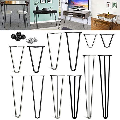 Haarnadel Tischbein, DIY Möbel Metall Tisch Beine perfekt für Schrank, Kleiderschrank, TV-Schränke, Schubladen, Nachttisch Komme Mit Bodenschutzmatte und Schrauben, 4 Stück Möbelfüße/Packung