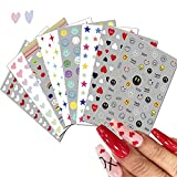 Nail Stickers for Nail Art Designs 8 Sheets Rainbow Heart Smile Face Stars Nail Art Decals for Kids Girls Women Summer Cute 3D Self Adhesive Nail Supplies Colorful Holiday Nail Art Decoration
