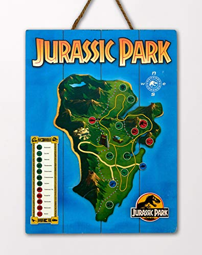 Doctor Collector DCJP16 Jurassic Park Isla Nublar Map WoodArts 3D Print
