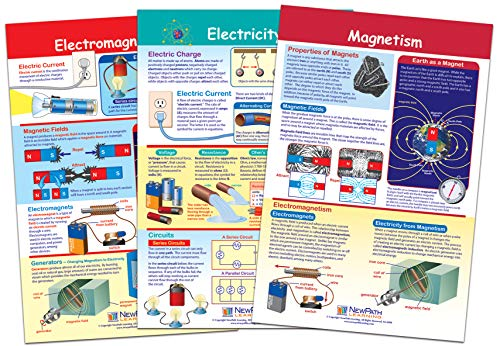 NewPath Learning Electricity & Magnetism Bulletin Board Chart Set (Pack of 3) (94-9004)
