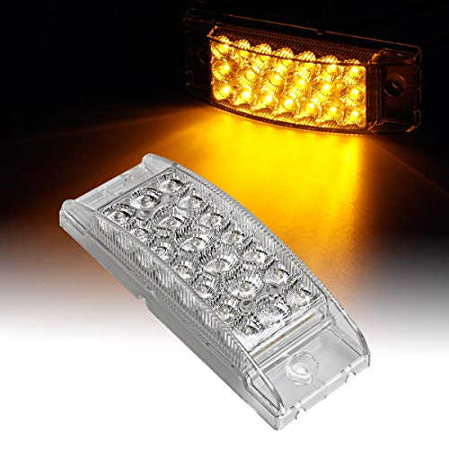 Partsam 6 Amber 20LED Surface Mount Side Marker Sealed Park Turn Signal Light Clear Lens, Rectangular Rectangle led Lights, Trailer Led Marker/Turn Lights, Auxiliary Lighting High and Low