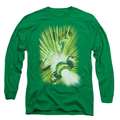 Green Lantern - - T-shirt à manches longues de Light Lantern hommes en vert de Kelly, Large, Kelly Green