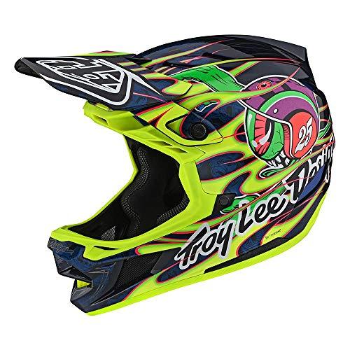 Troy Lee Designs - Casco para adulto (edición limitada, BMX, bicicleta de montaña, D4, compuesto de globo ocular, talla XL), color amarillo