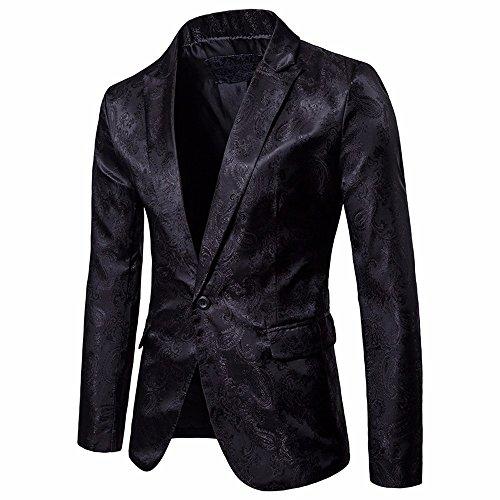 Longra-Uomo Giacca da Abito Maniche Lunghe Blazer Jacquard Elegante Camicetta Giacca Vestito di Affari Cappotto Giacca Blazer Uomo Slim Fit Blazer Festa Partito