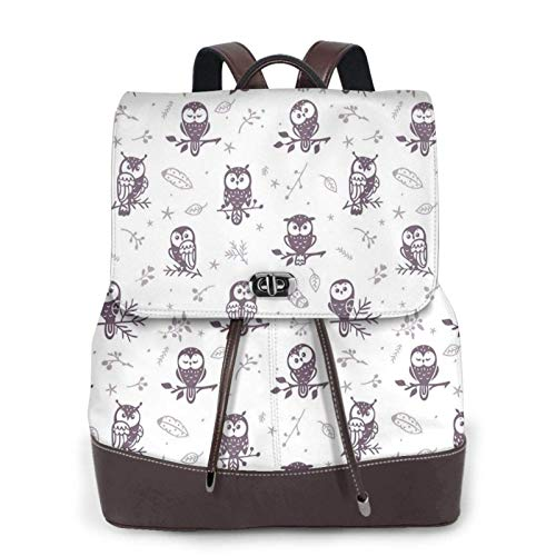Women'S Leather Backpack,Owl Tree Branches Print Women'S Leather Backpack