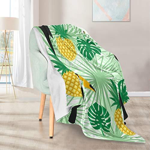 Lupinz Überwurf, Motiv: tropische Tukan- und Pflaumenblätter, doppelseitig, Kunstfell, 127 x 152 cm