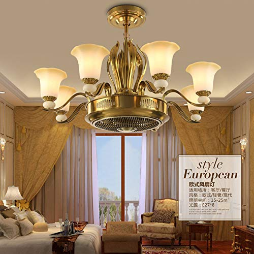 SOLUCKY Nordic Chandelier, Luxury Ceiling Light with remote Control, Negative Ion Invisible Ceiling Fan Light for Restaurant Bedroom Decoration steampunk buy now online