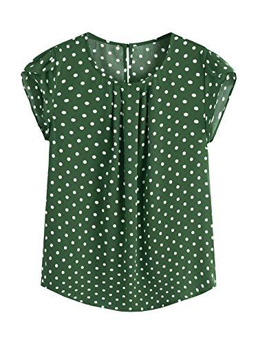 Milumia Women's Elegant Polka Dots Print Cap Sleeve Keyhole Back Work Blouse Top Green Medium