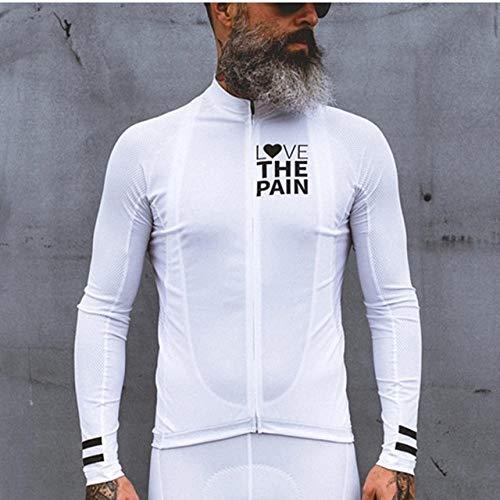 WFE&QFN MaglioneMaglia da Ciclismo a Manica Lunga Sottile da Uomo Love The Pain Go PRO Abbigliamento da Bici Camicia da Bici da Strada MTB Maillot Ciclismo Giacca da Ciclismo